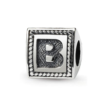 Load image into Gallery viewer, Sterling Silver Reflections Letter B Triangle Block Bead