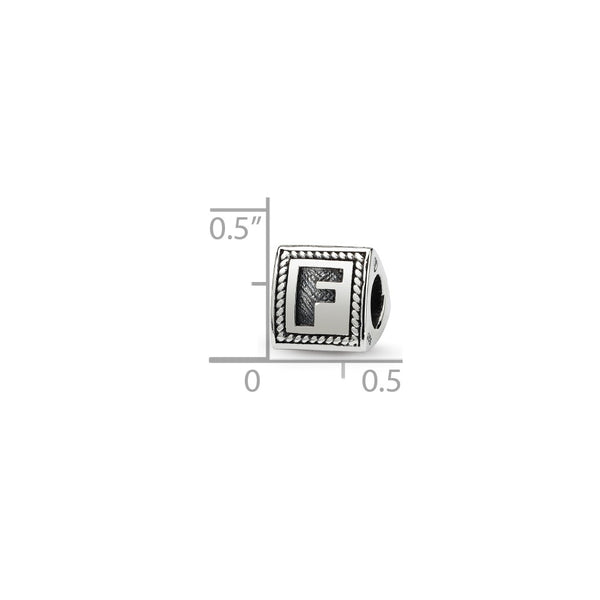 Sterling Silver Reflections Letter F Triangle Block Bead
