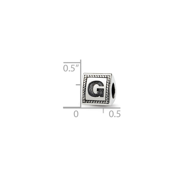 Sterling Silver Reflections Letter G Triangle Block Bead