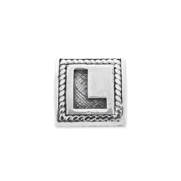 Sterling Silver Reflections Letter L Triangle Block Bead