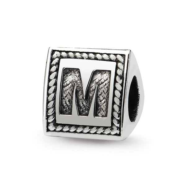 Sterling Silver Reflections Letter M Triangle Block Bead