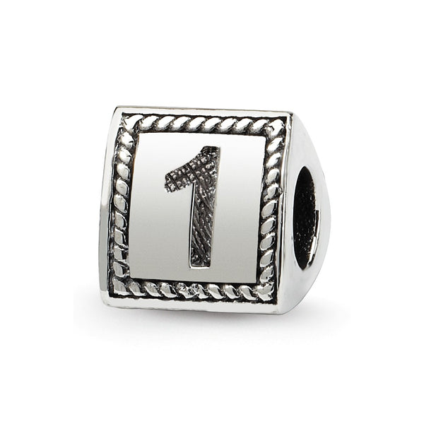 Sterling Silver Reflections Number 1 Triangle Block Bead