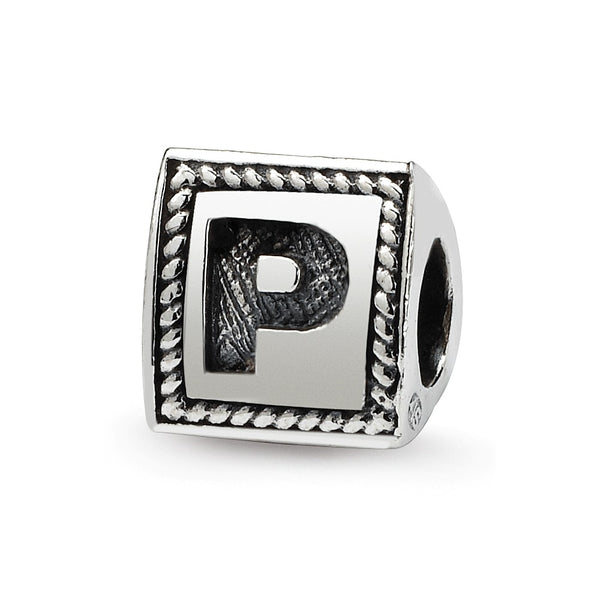 Sterling Silver Reflections Letter P Triangle Block Bead