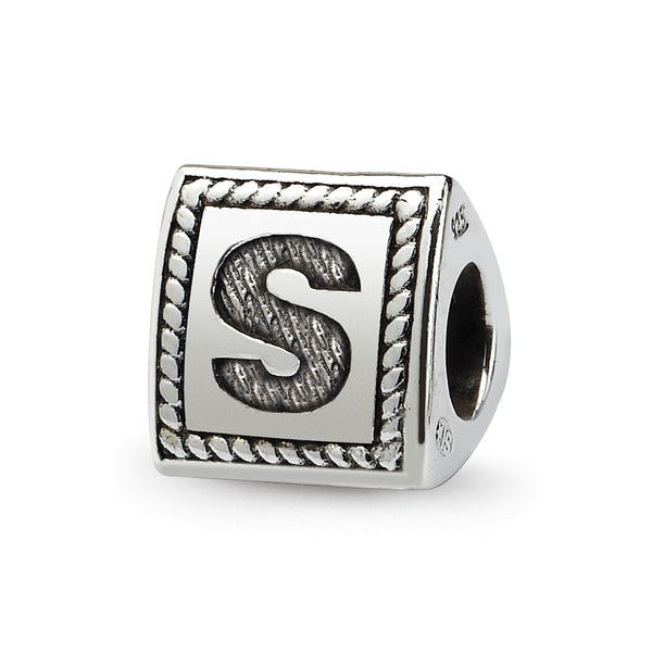 Sterling Silver Reflections Letter S Triangle Block Bead