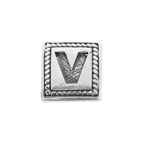 Sterling Silver Reflections Letter V Triangle Block Bead