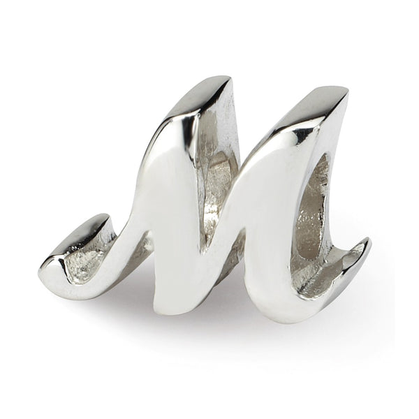 Sterling Silver Reflections Letter M Script Bead