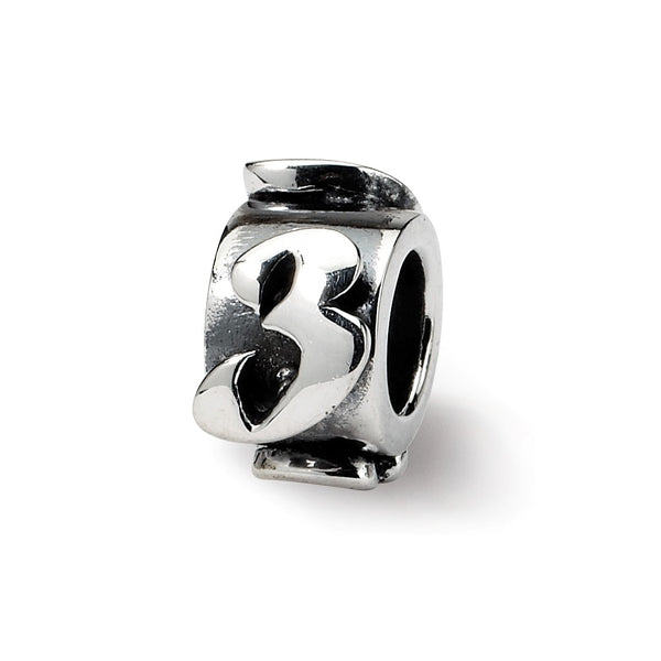 Sterling Silver Reflections Number 3 Message Bead