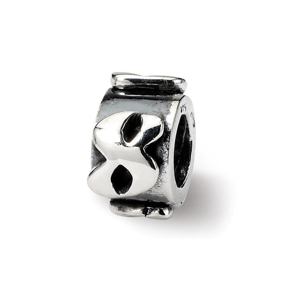 Sterling Silver Reflections Number 8 Message Bead