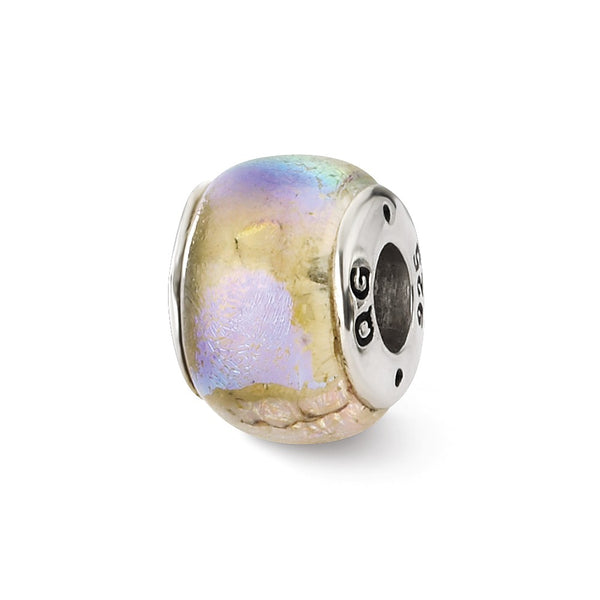 Sterling Silver Reflections Rainbow Dichroic Glass Bead