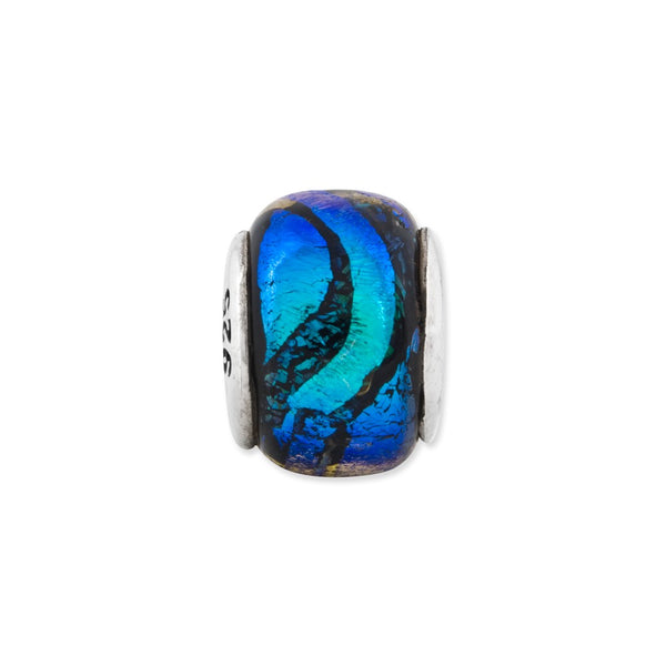 Sterling Silver Reflections Blue Dichroic Glass Bead