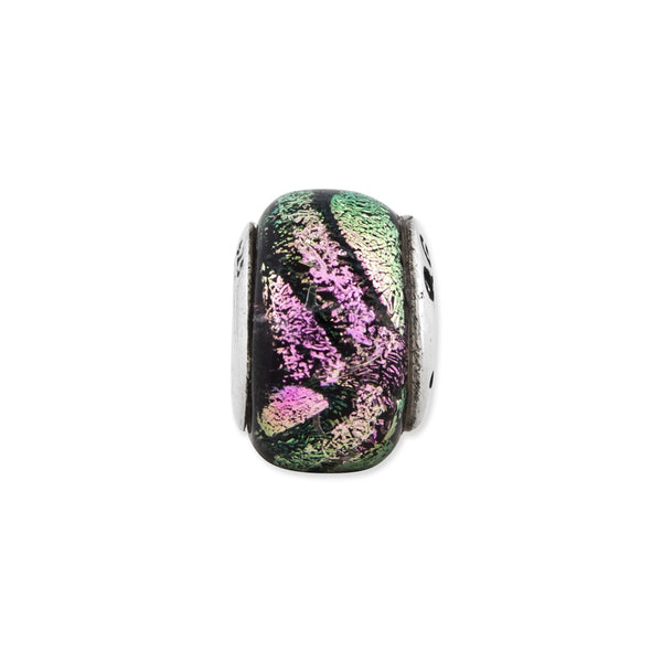 Sterling Silver Reflections Pink Dichroic Glass Bead