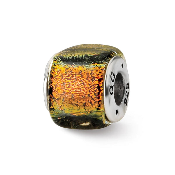 Sterling Silver Reflections Orange Dichroic Glass Square Bead