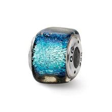 Load image into Gallery viewer, Sterling Silver Reflections Blue Dichroic Glass Square Bead