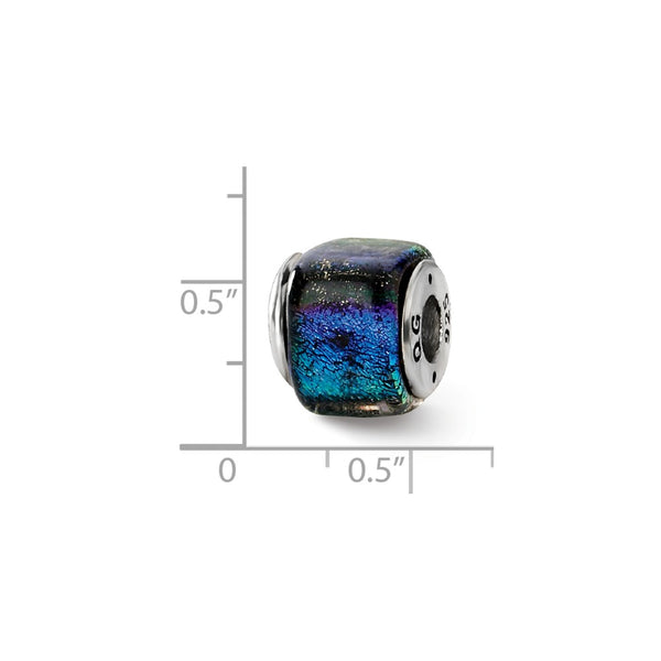 Sterling Silver Reflections Rainbow Dichroic Glass Square Bead