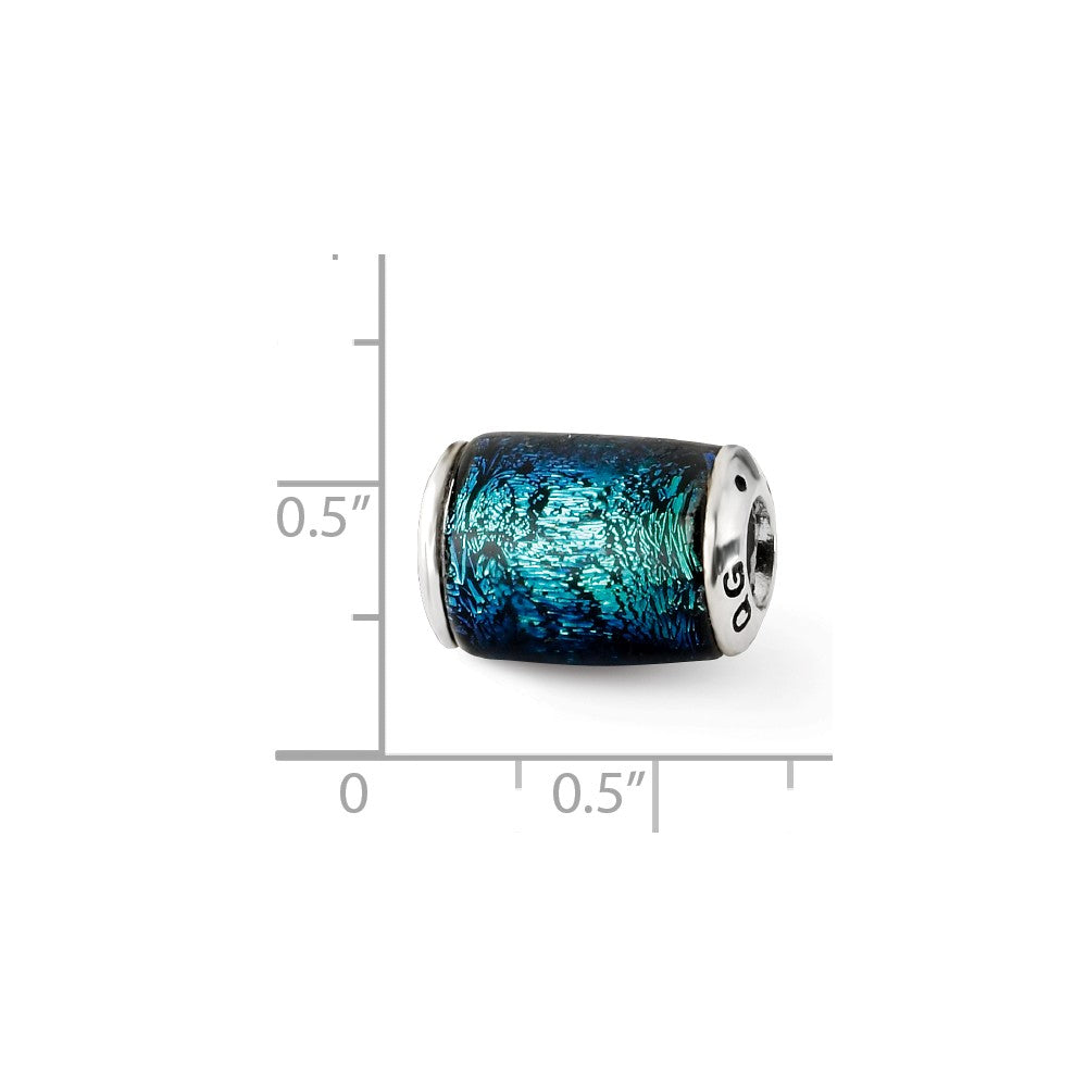 Sterling Silver Reflections Blue Dichroic Glass Barrel Bead