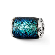 Load image into Gallery viewer, Sterling Silver Reflections Blue Dichroic Glass Barrel Bead
