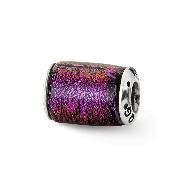 Sterling Silver Reflections Purple Dichroic Glass Barrel Bead