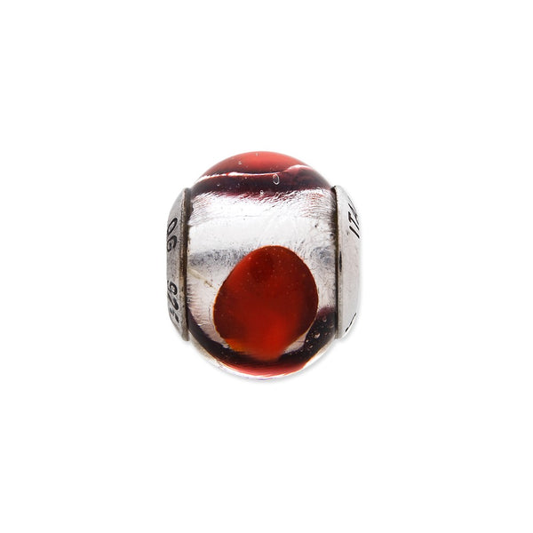 Sterling Silver Reflections White/Red/Black Italian Murano Bead