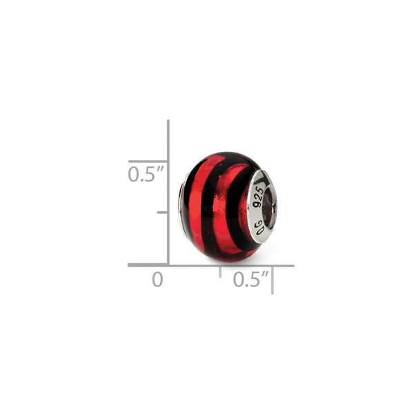 Sterling Silver Reflections Red/Black Italian Murano Bead