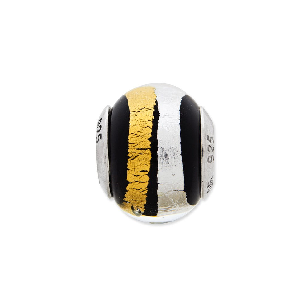 Sterling Silver Reflections Silver/Gold/Black Italian Murano Bead