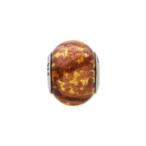 Sterling Silver Reflections Yellow/Gold/Brown Italian Murano Bead