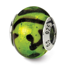 Load image into Gallery viewer, Sterling Silver Reflections Green/Black Italian Murano Bead