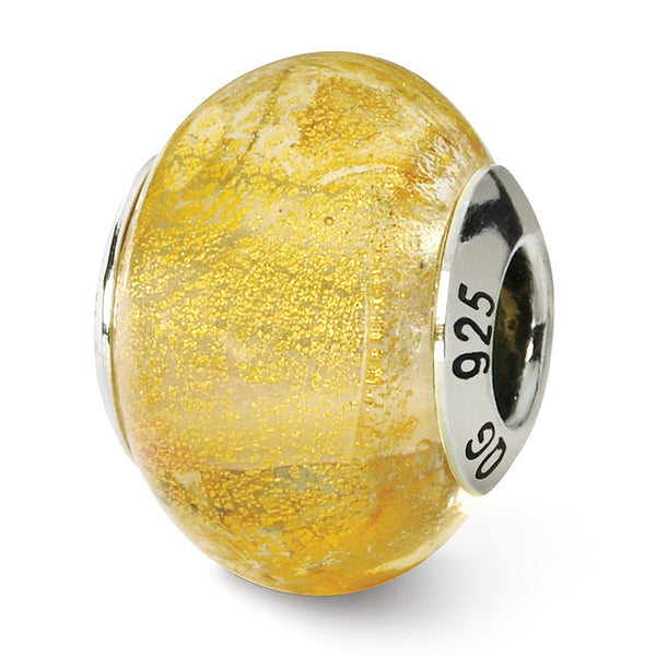 Sterling Silver Reflections Champange Yellow Italian Murano Bead