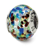 Sterling Silver Reflections Silver/Blue/Red Italian Murano Bead