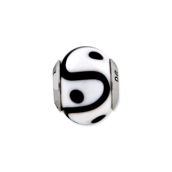 Sterling Silver Reflections White/Black Italian Murano Bead