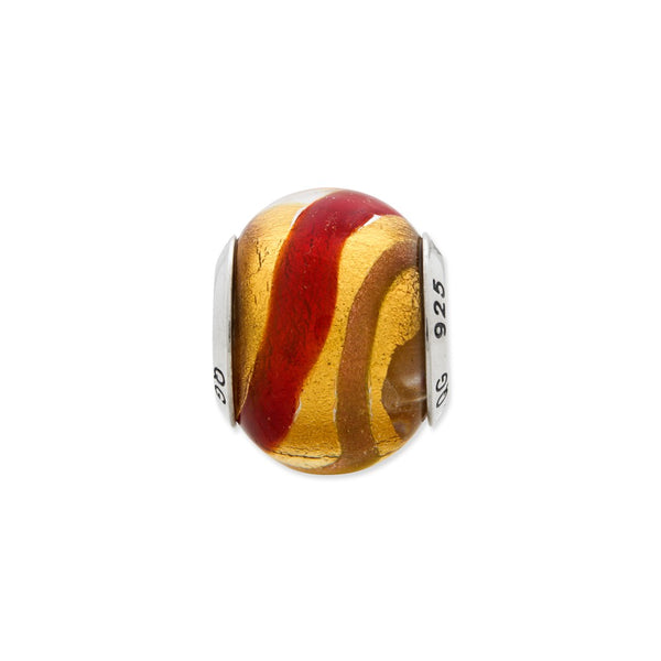 SSilver Reflections Yellow/Gold/Brown Red Italian Murano Bead