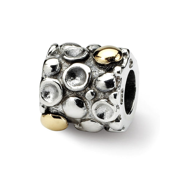 Sterling Silver & 14k Reflections Dots Bali Bead