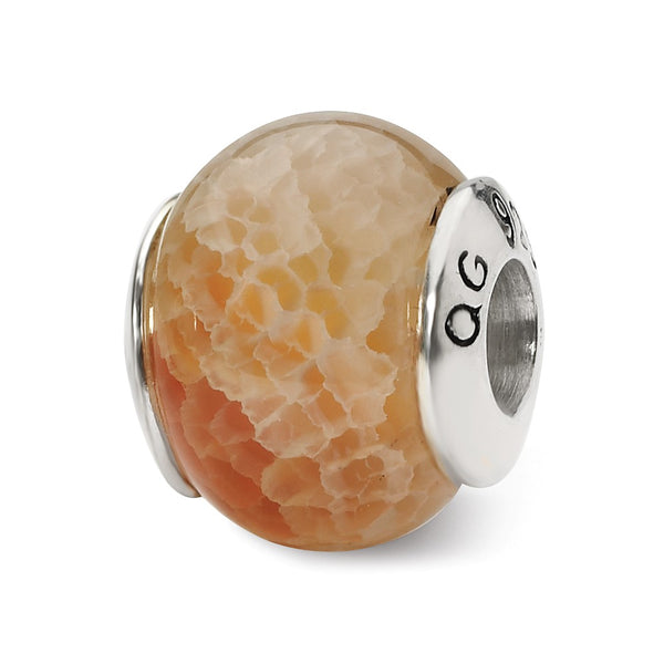 Sterling Silver Reflections Peach Cracked Agate Stone Bead