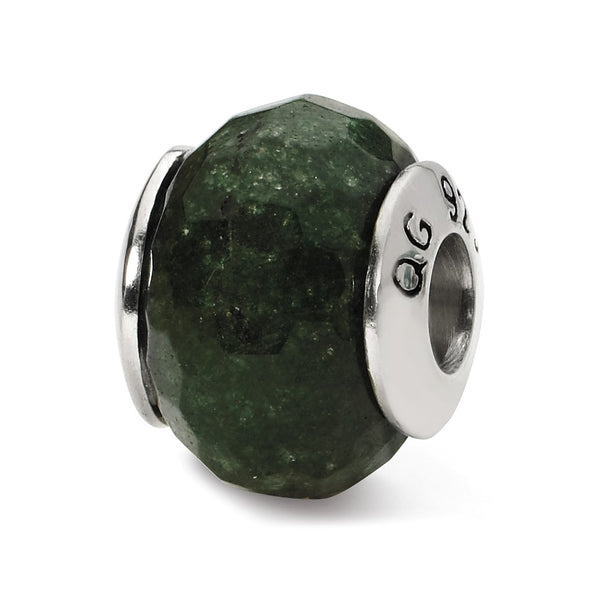 Sterling Silver Reflections Dark Green Quartz Stone Bead