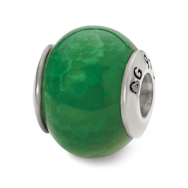 Sterling Silver Reflections Green Cracked Agate Stone Bead