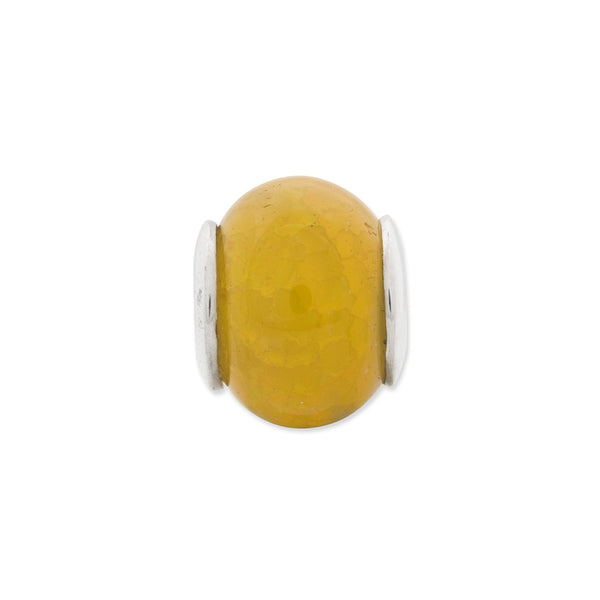Sterling Silver Reflections Yellow Cracked Agate Stone Bead