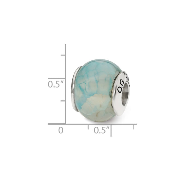 Sterling Silver Reflections Light Blue Cracked Agate Stone Bead