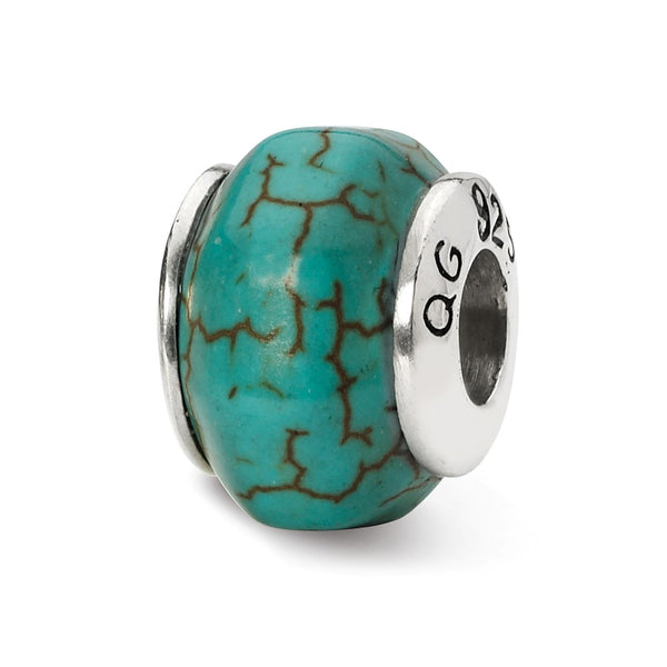 Sterling Silver Reflections Blue Magnesite Stone Bead