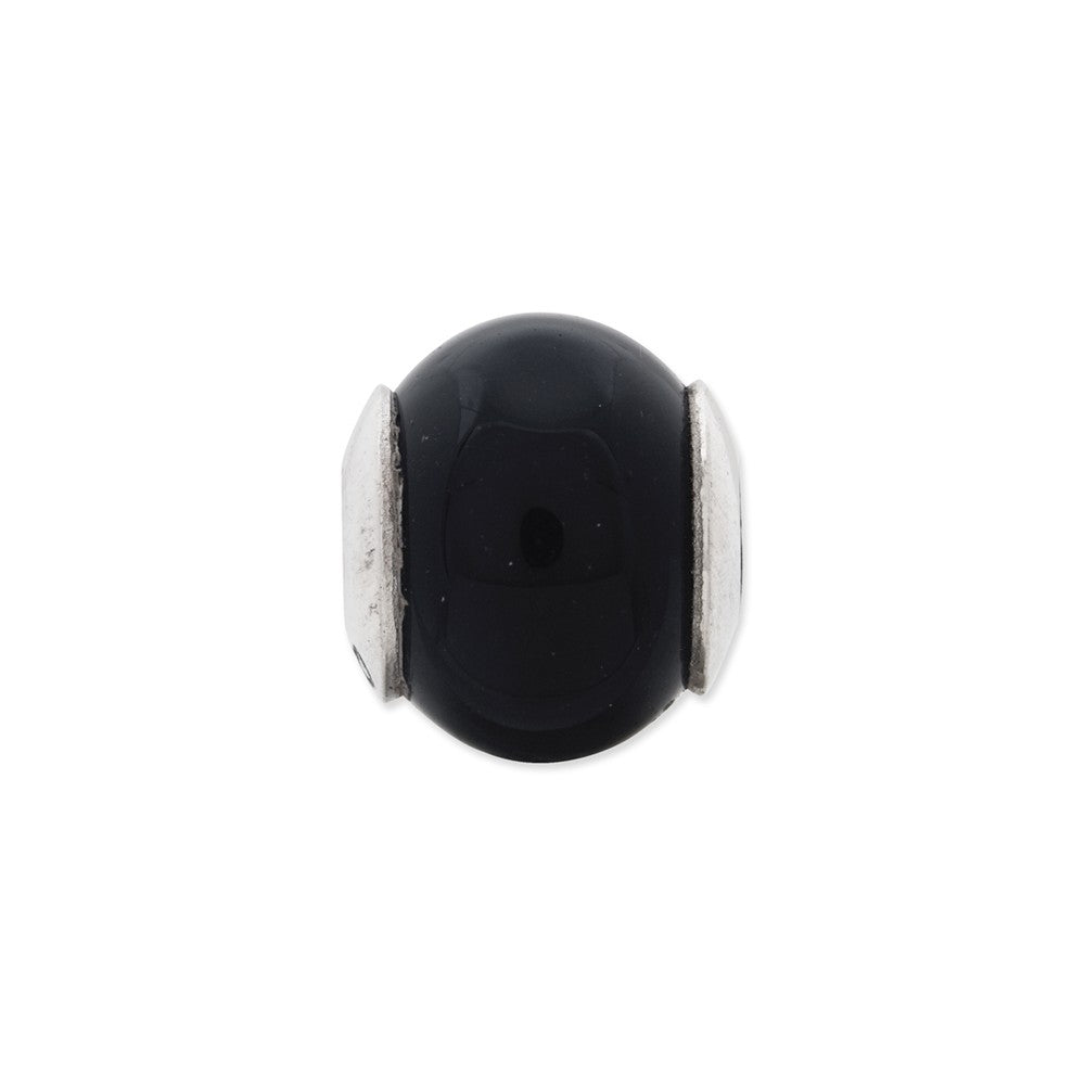 Sterling Silver Reflections Black Agate Stone Bead