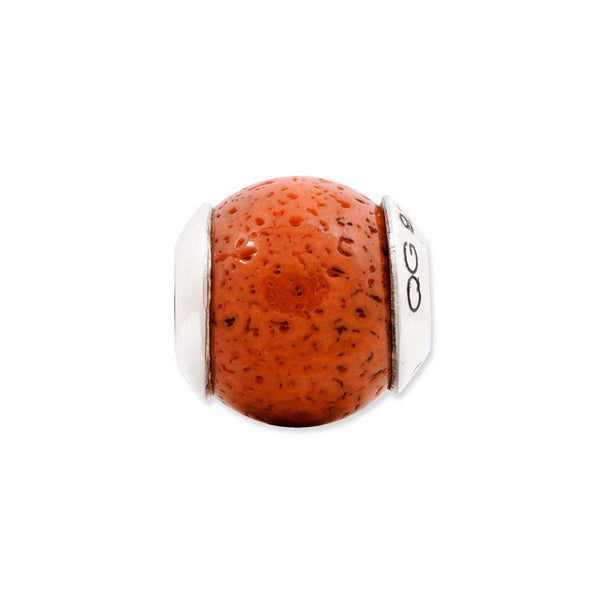 Sterling Silver Reflections Coral Stone Bead