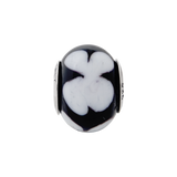 Sterling Silver Reflections Black/White Flower Italian Murano Bead