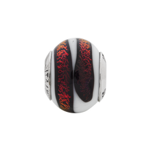 Load image into Gallery viewer, Sterling Silver Reflections White/Red Italian Murano Bead