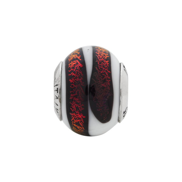 Sterling Silver Reflections White/Red Italian Murano Bead