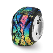 Load image into Gallery viewer, Sterling Silver Reflections Rainbow Square Dichroic Glass Bead