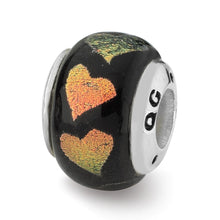 Load image into Gallery viewer, Sterling Silver Reflections Orange/Green Hearts Dichroic Glass Bead