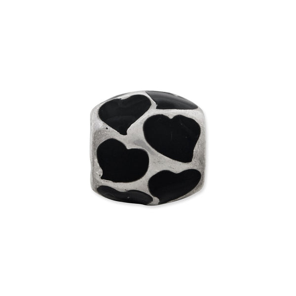 Sterling Silver Reflections Black Enameled Hearts Bead