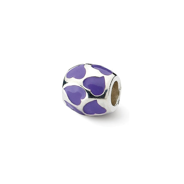 Sterling Silver Reflections Purple Enameled Hearts Bead