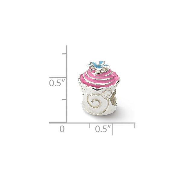 Sterling Silver Reflections Pink Enameled Cupcake Bead