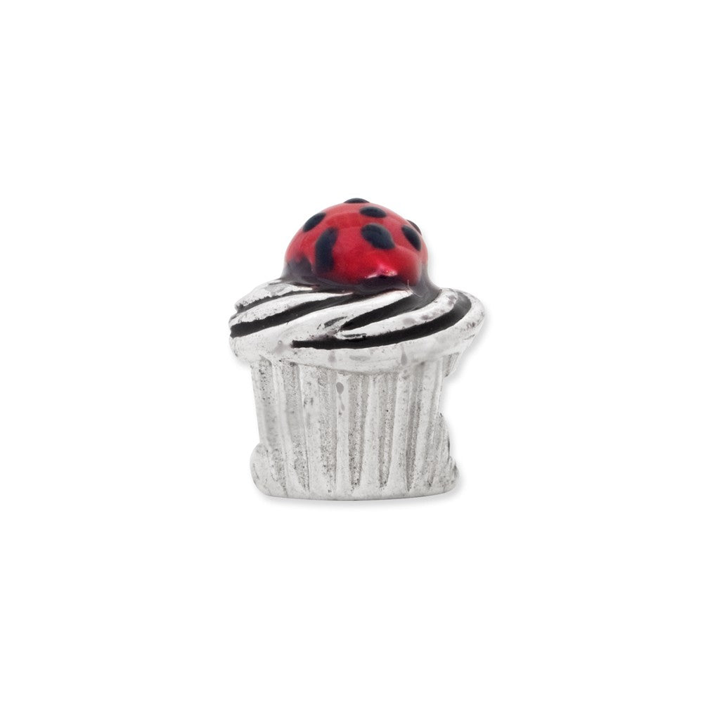 Sterling Silver Reflections Enameled Strawberry Cupcake Bead