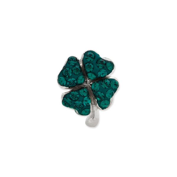 Sterling Silver Reflections Green Swarovski Crystal Clover Bead