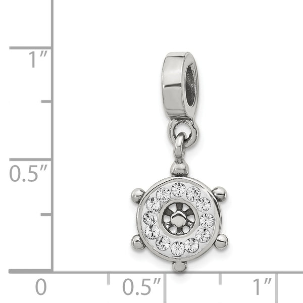 Sterling Silver Reflections Clear Swarovski Ships Wheel Dangle Bead